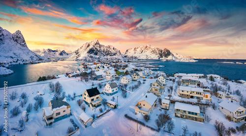 Fotografie, Obraz View from flying drone of Reine village, Moskenesoya island, Norway, Europe