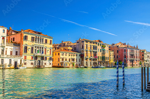 Grand Canal waterway with row of colorful multicolored palace buildings in Canna Fotobehang