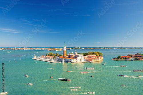 Fotografie, Obraz Aerial panoramic view of San Giorgio Maggiore island with Campanile San Giorgio