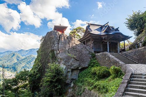 山形県 山寺 立石寺の開山堂と納経堂からの眺め Canvas Print