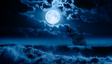 """Old Sailing-ship In Storm Sea, Night Sky With Moon In The Clouds In The Background """"Elements Of This Image Furnished By NASA"""