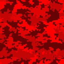 Camouflage Red Modern.Pixel Camo.Seamless Pattern.Military Texture. Print On Fabric Template For Design. Vector