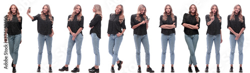 Obraz photo collage of a modern young woman with a smartphone - fototapety do salonu