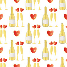 Champagne And Red Hearts Seaml...