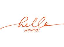 Hello Autumn Ink Brush Pen Vec...