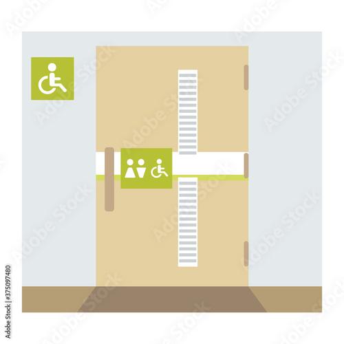 多目的トイレ(だれでもトイレ)のドアのイラスト(線なし) Wallpaper Mural