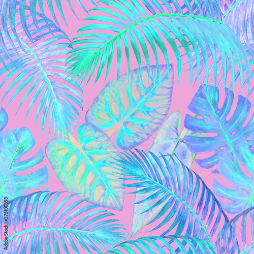 Watercolor surreal abstract seamless pattern with tropical exotic plants Fotobehang