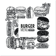 Vector Illustration Of Burgers...