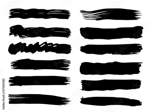 Vector collection of artistic grungy black paint hand made creative brush stroke set isolated on white background Fotobehang
