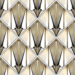 Panel Szklany Art Deco Art Deco Pattern. Vector gold black white background