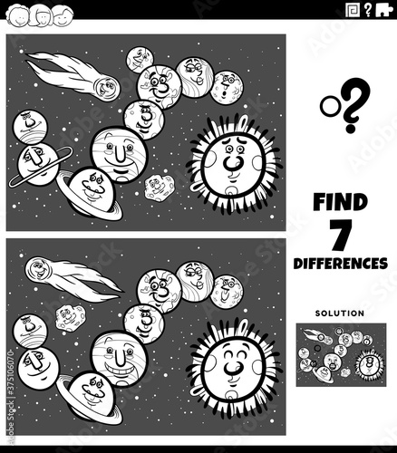 differences educational game with planets and orbs color book page Wallpaper Mural