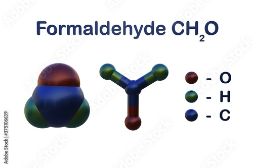 Structural chemical formula and molecular model of formaldehyde Canvas Print