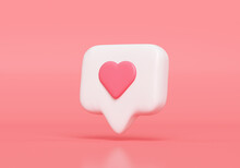 Like Notification Icon, Social Media Notification Icon With Heart Symbol On Pink Background. 3d Illustration