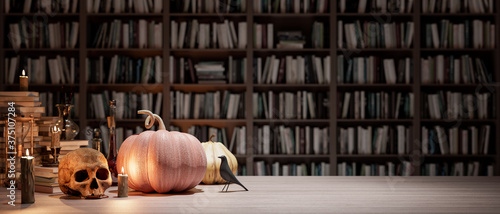 the wizard's room with library, old books, pumpkins, potion, and scary things 3d Fotobehang