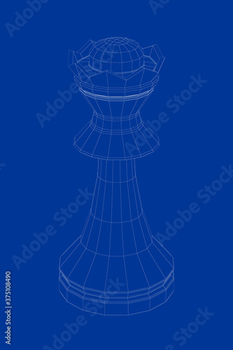 Obraz 3d wire-frame model of queen chess piece - fototapety do salonu