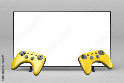 Wireless gaming controllers in front of the TV with empty screen