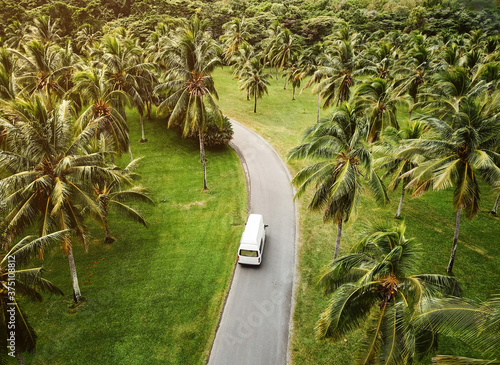 Vászonkép High angle view of a small camper driving through tropical landscape