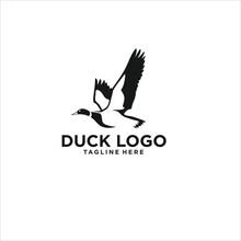 Duck Logo Design Silhouette Vector