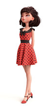 Romantic Brunette Young Woman With Big Brown Eyes. Beautiful Cute Cartoon Fashion Valentines Girl In Red Dress With Black Polka Dots Holding Hands Behind Her Back. 3d Render Isolated On White Backdrop