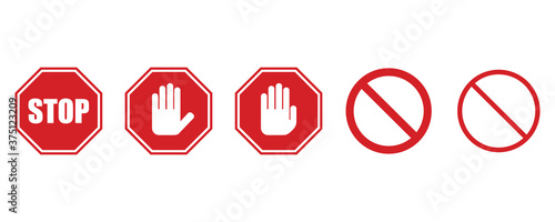 Cuadros en Lienzo Stop signs collection in red and white, traffic sign to notify drivers