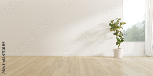 Obraz 3d render of empty room with wooden floor and vase of plant on nature background. - fototapety do salonu