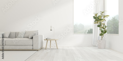 3d render of modern living room with sofa on bright wooden floor ,white wall with large window on nature background.