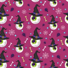 Halloween Eyeball Seamless Pattern On Purple Background. Halloween Skull Pattern Background. Vector Illustration