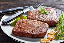 Fried Rump Beef Steaks On A Pl...