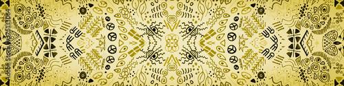 Obraz na plátně Latin America Texture. Black Ethnic Carpet. Metal
