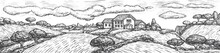 Rustic Landscape. Engraved Vector Rustic Landscape With House, Field, Tree. Black And White Hand Drawn Village Sketch In Vintage Style. Harvesting And Gardening Illustration. Detailed Farmland Scene