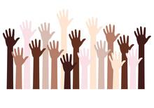 Human Hands Fight Against Racism, Black Lives Matter, Vector