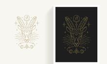 Zodiac Capricorn Horoscope Sign Line Art Silhouette Design Vector Illustration.