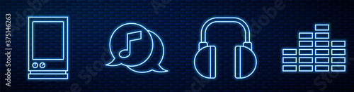 Obraz Set line Headphones, Voice assistant, Musical note in speech bubble, Music equalizer and Fast forward. Glowing neon icon on brick wall. Vector. - fototapety do salonu