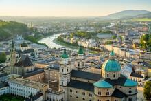 Panoramic View At Salzburg While Sunset, Austria