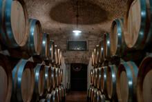 Wine Barrels Stored In A Wine ...
