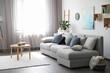 canvas print picture - Elegant living room with comfortable sofa near window. Interior design