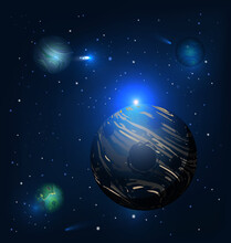 Dark Planet And Colored Vector...