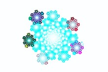 Snowflakes Christmas Design Background. Glowing Colors With Turquoise