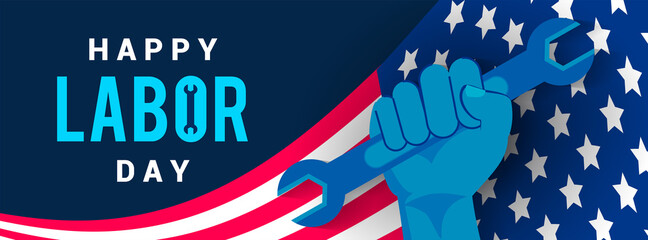 Happy USA Labor Day Banner vector illustration. hand Holding wrench on flag of USA