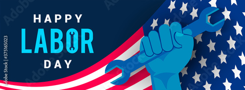 Happy USA Labor Day Banner vector illustration Fototapeta