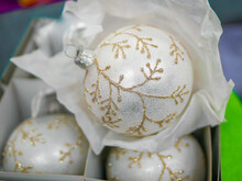 Silver Christmas Balls With Golden Pattern