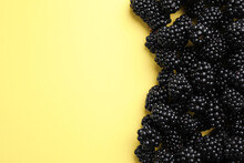 Tasty Ripe Blackberries On Yel...