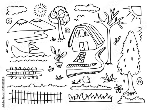 Foto Vector illustration: Hand drawn Mountains sketch landscape with hills, pine and clouds