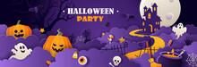 Happy Halloween Invitation In Paper Cut Style