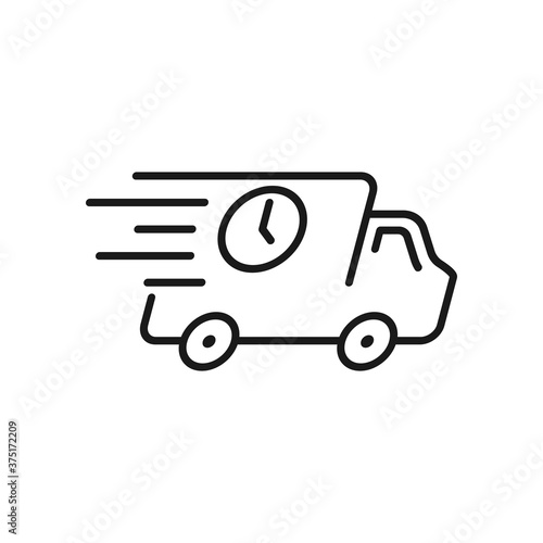 Fast delivery truck icon, express delivery, quick move, Vector illustration Canvas Print