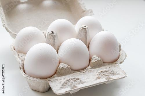 Photo huevos empacadas, alimentos frescos