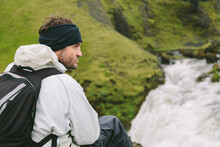 Hiker Having A Rest In A Viewpoint Over Skogar River