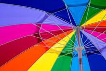 Closeup Image Of A Rainbow Coloured Umbrella
