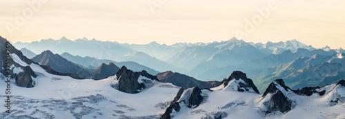 Fotografie, Obraz Panorama of snowy mountain range
