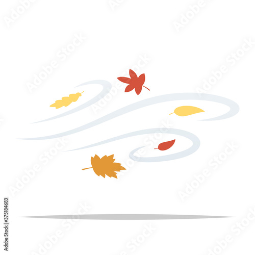 Obraz na plátně Windy day blowing autumn leaves vector isolated illustration